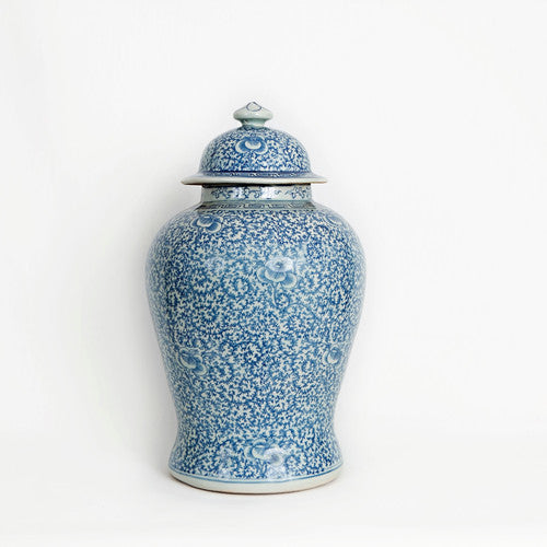 Blue & White Floral Swirl Ginger Jar