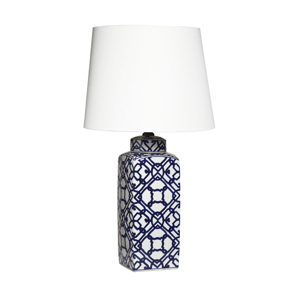Large Blue & White Geometric Ceramic Lamp With Shade