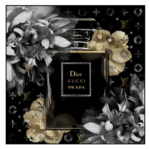 Extra Large Gold Embellished Perfume Bottle Designer Print In Black Gloss Frame