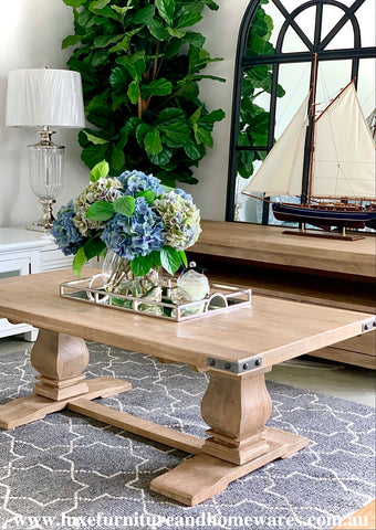 Hamptons Collection Solid Hardwood Double Pedestal Coffee Table