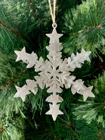 Silver Star Snowflake Christmas Ornament