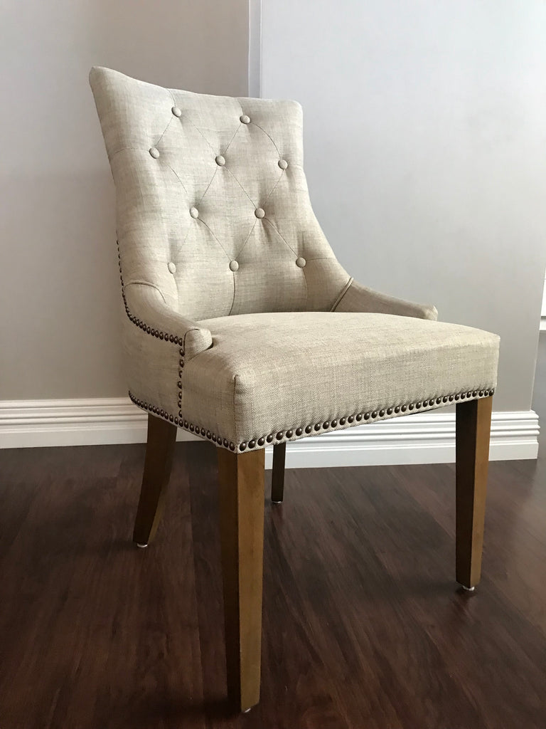 Marseille Button Tufted Round Backed Chair In Beige Linen