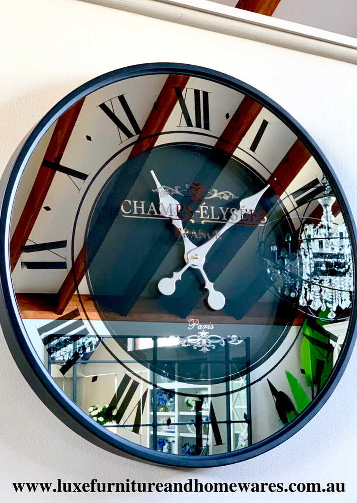 Black Mirrored Wall Clock 59cm