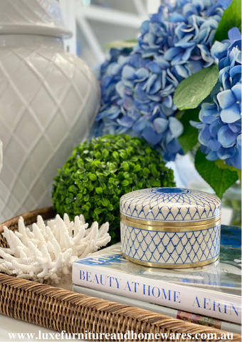 Blue & White Round Jar With Crossed Pattern And Gold Trim