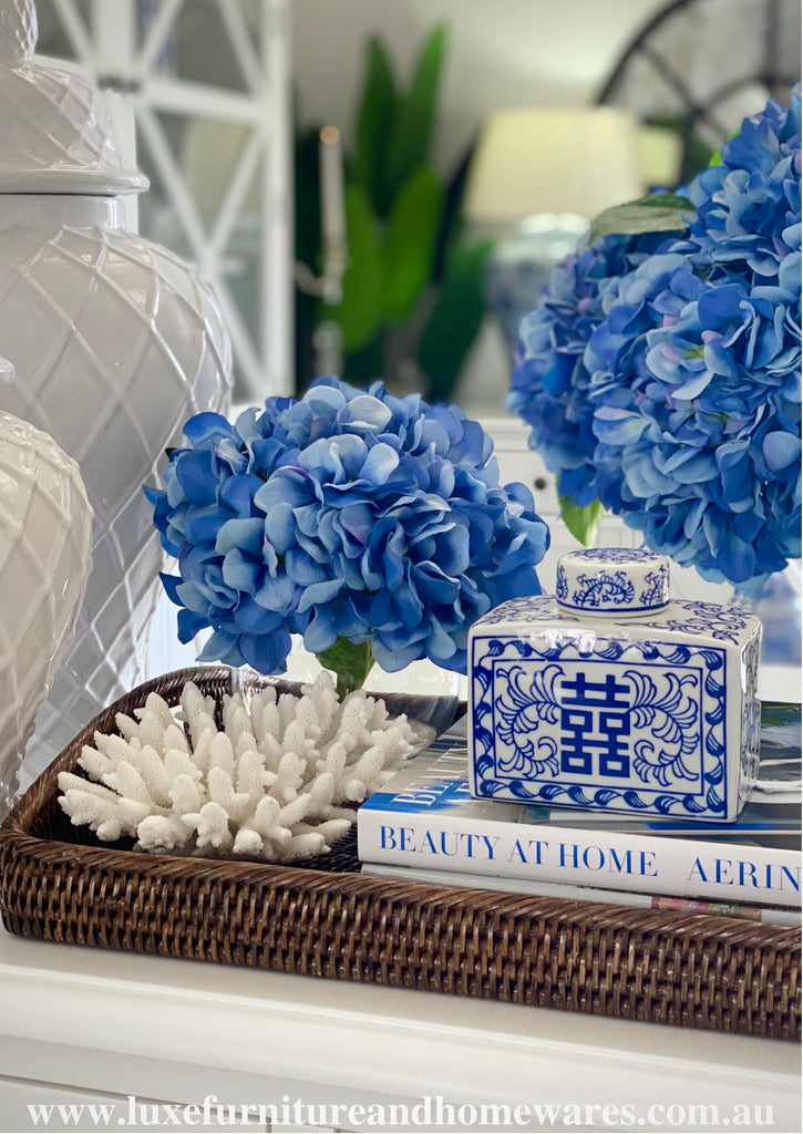 Blue & White Rectangular Happy Jar