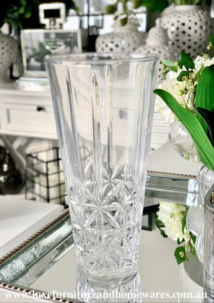 Crystal Cut Textured Glass Vase