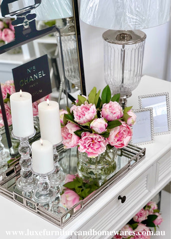 Blush Pink Peony Set In Clear Glass Vase