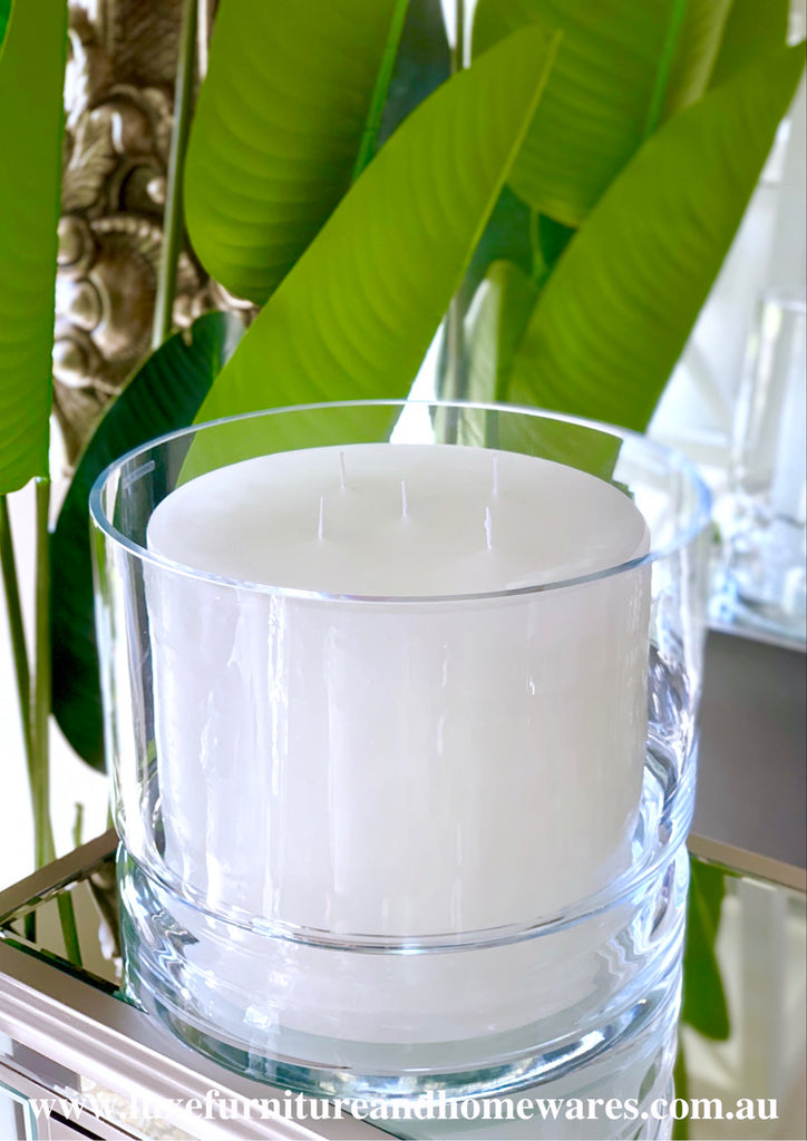 Luxurious European Glass Candle Holder With Italian Wax Candle - CLEARANCE