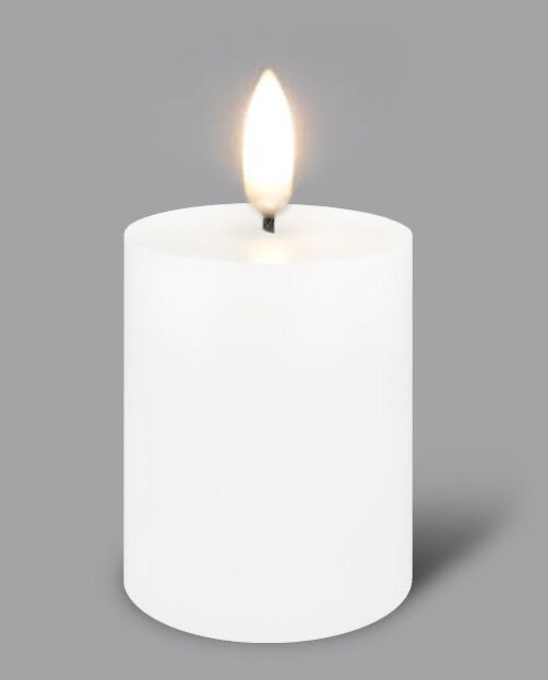 Nordic White Flameless Candle LUX Signature Collection In Tall Votive