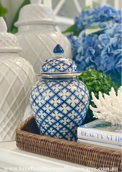 Blue & White Ginger Jar In Diamond Pattern With Gold Trim