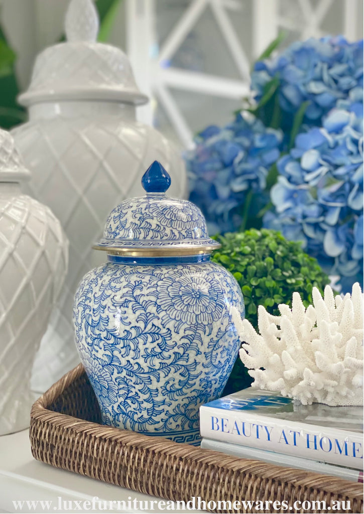 Blue & White Ginger Jar In Scroll Pattern With Gold Trim