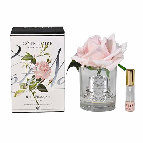 Côte Noire Perfumed Natural Touch Single Rose in Clear Glass - French Pink