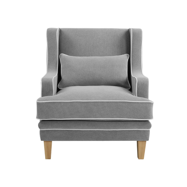 Newport Armchair In Classic Grey With White Piping