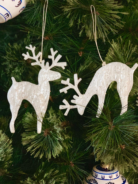 Pair Of Woodland Reindeer Christmas Ornaments