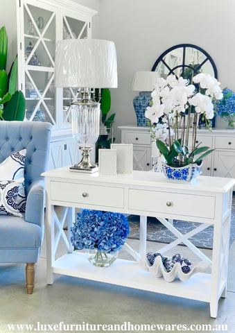 South Hampton Two Drawer Console Table In White