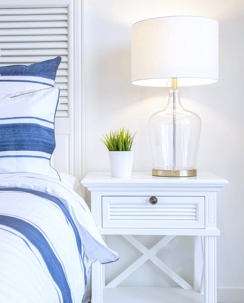 Long Island Bed Side Table In White - PREORDER
