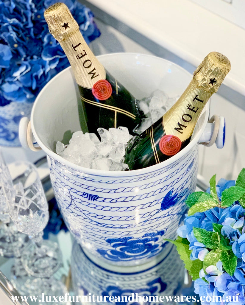 Blue & White Champagne Bucket - CLEARANCE