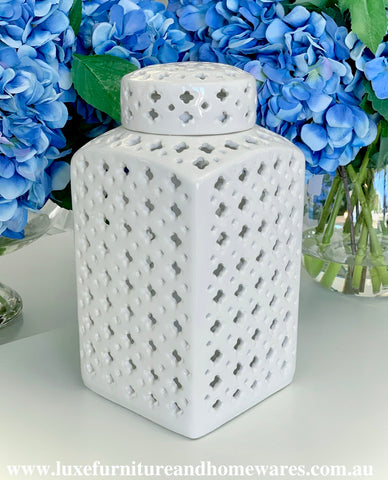 Lexington Square Ginger Jar In White