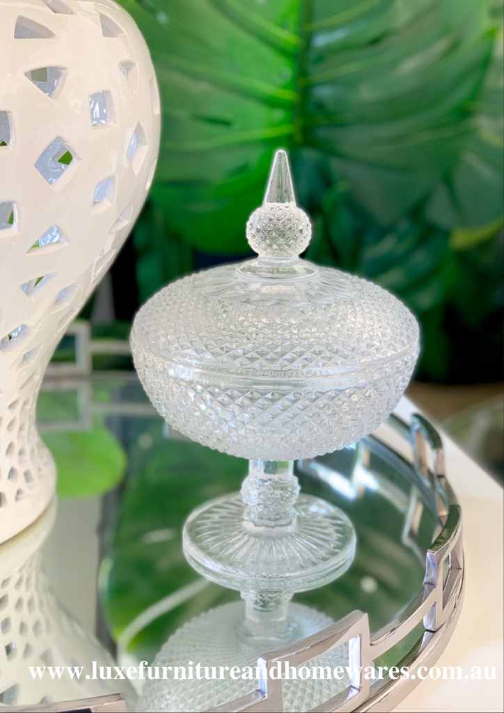 Diamond Cut Glass Footed Jar
