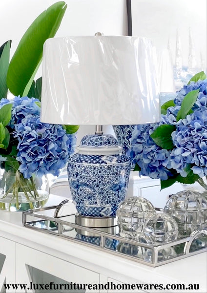 Blue & White Floral Lamp With Shade