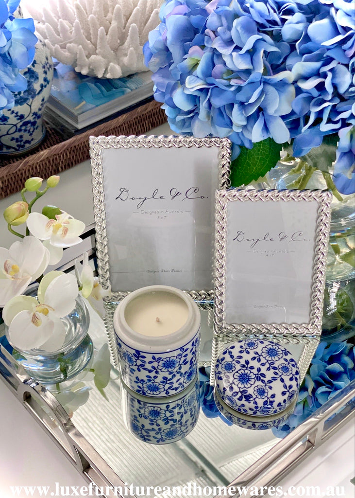 Small Blue & White Candle Jar By Aromatic Indulgence - French Pear