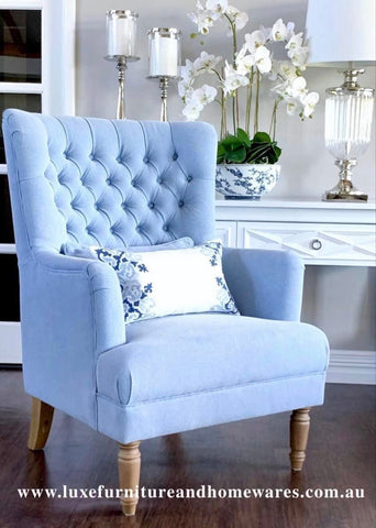 Chesterfield Winged Armchair In Blue Linen
