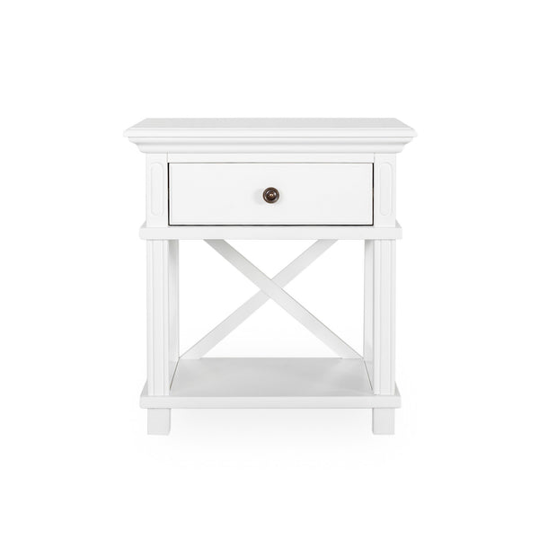 Newport Bed Side Table In White