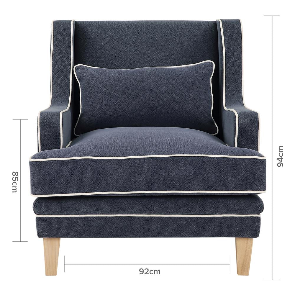 Newport Armchair In Navy With White Piping