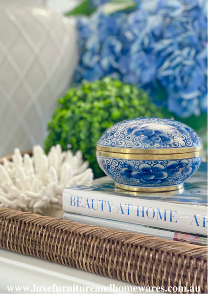 Blue & White Round Lidded Box With Petal Pattern And Gold Trim
