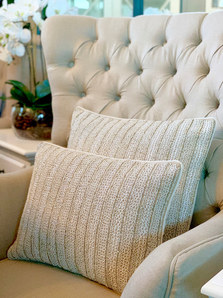Luxurious Heavily Beaded Square Cushion - EX DISPLAY