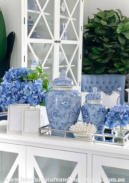 Pale Blue & White Floral Ginger Jar - Two Sizes Available