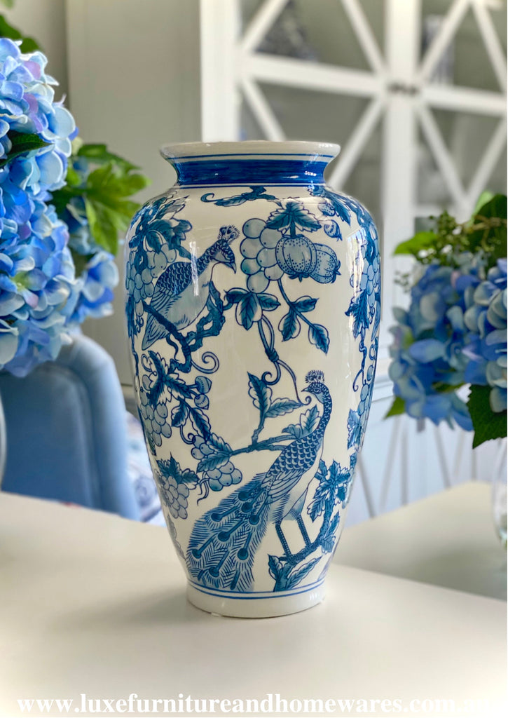 Blue & White Peacock Vase