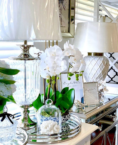 Luxurious Glass Nickel Lamp With White Linen Shade - PREORDER