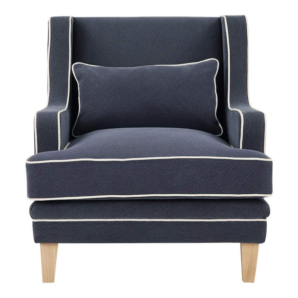 Newport Armchair In Navy With White Piping - PREORDER