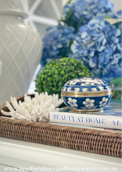 Blue & White Round Lidded Box With Blossom Pattern And Gold Trim