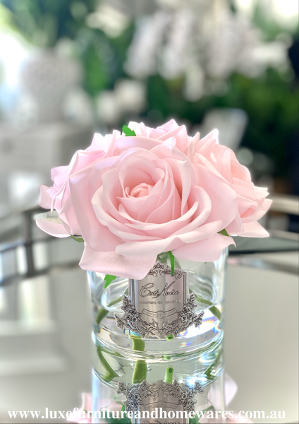 Côte Noire Perfumed Natural Touch Roses In Clear Glass - French Pink