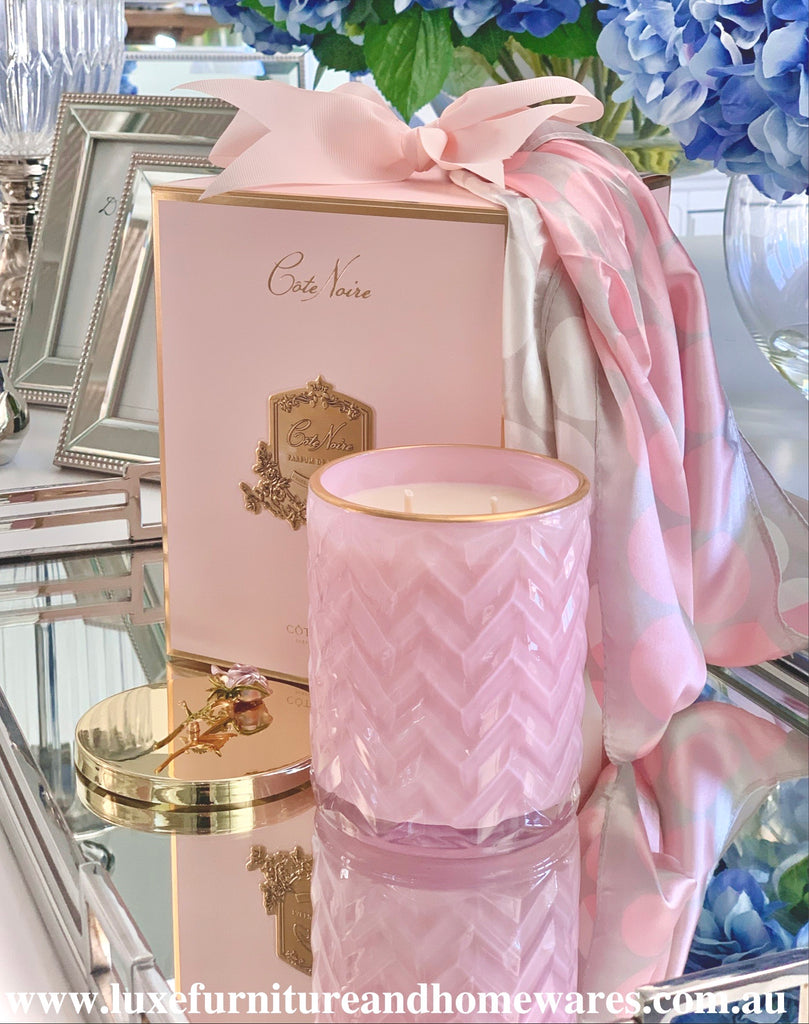 Côte Noire Pink Herringbone Candle With Rose Lid