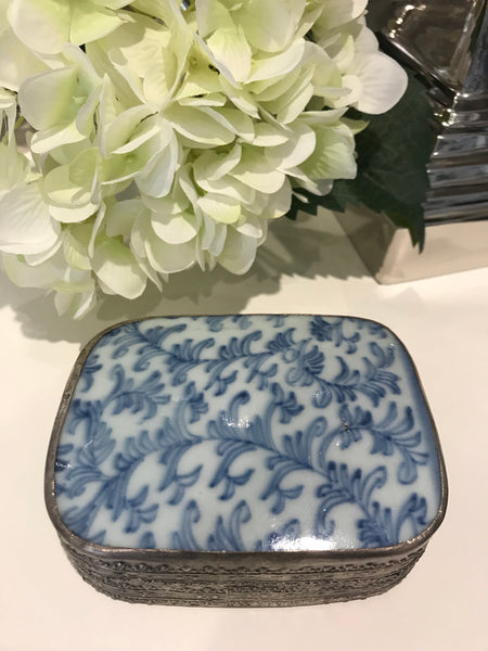 Specialty Blue & White Vine Trinket Box
