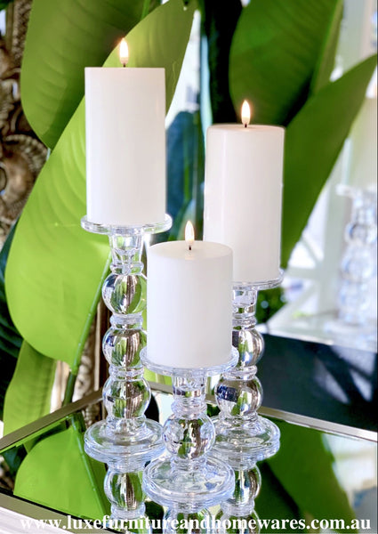 Set Of Three Glass Candle Sticks With White LUX Signature Collection Candles & Remote