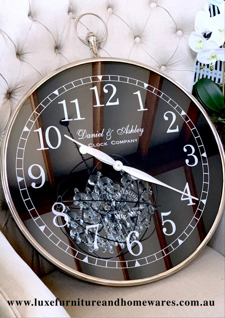 Luxury Wall Clock With Black Face In Large