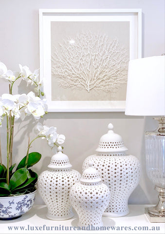 White Framed Faux Sea Fan