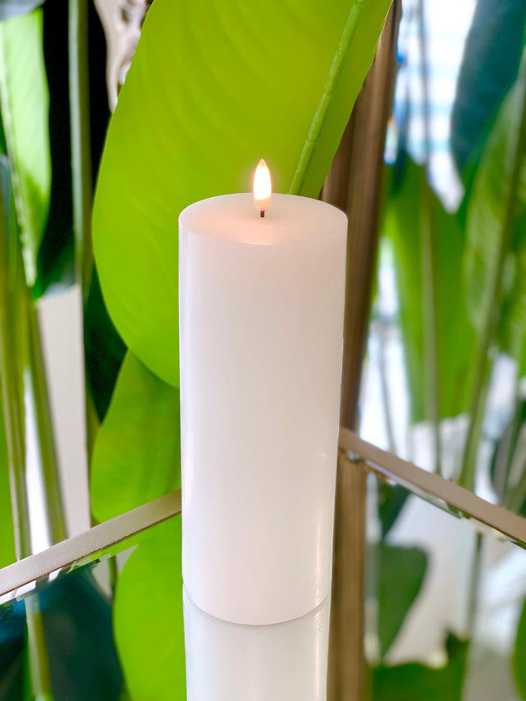 Nordic White Flameless Candle LUX Signature Collection In Large