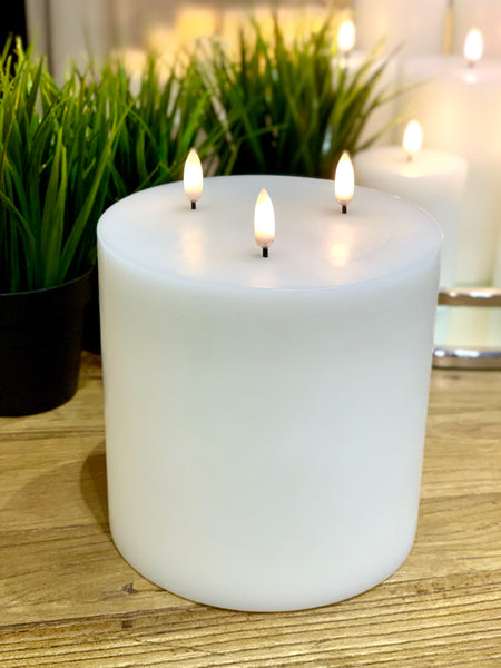 Nordic White Flameless Candle LUX Signature Collection In Extra Large Triple Wick