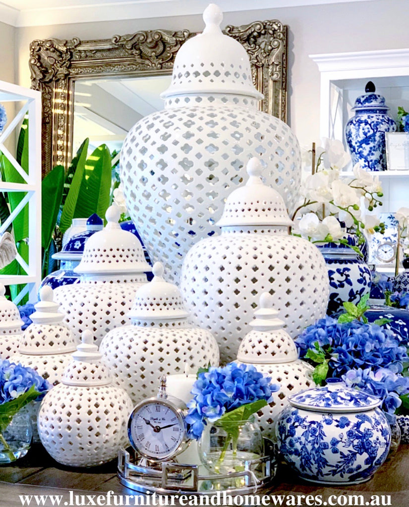 Hamptons Style Temple Jar - Extra Large In White
