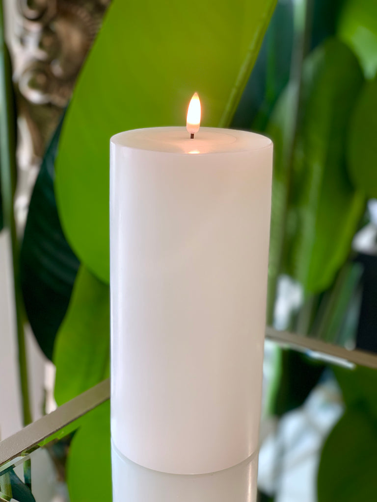 Nordic White Flameless Candle LUX Signature Collection In Extra Large