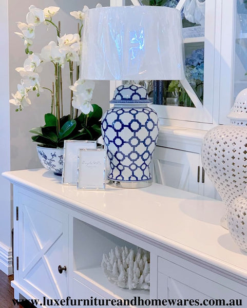 Blue & White Marrakesh Ceramic Lamp With Shade - PREORDER