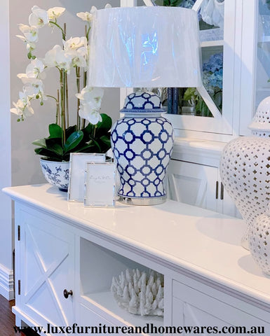 Blue & White Marrakesh Ceramic Lamp With Shade