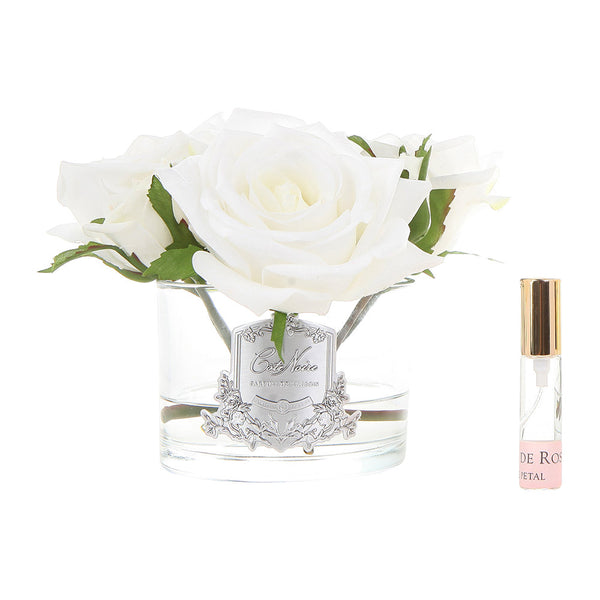 Côte Noire Perfumed Natural Touch Roses In Clear Glass - Ivory White