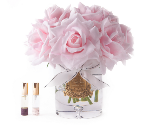 Côte Noire Luxury Grand Perfumed Natural Touch Twelve French Pink Roses In Clear Glass
