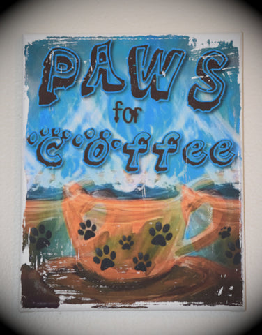 Paws for Coffee 8 x 10 Canvas Art (orange cup)